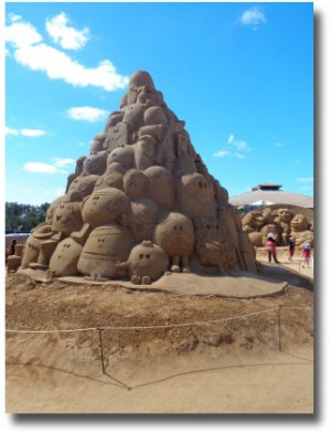 The Mr Men and Little Miss Mountain at the Sand Sculpture Festival 2014 along the Frankston waterfont