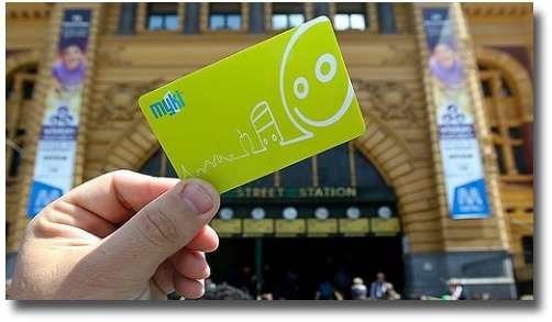Myki Card with Flinders Street Station in the background Melbourne Australia compliments of http://www.flickr.com/photos/samchurchill/6325453606/