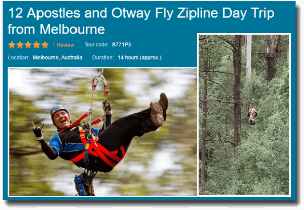 Image link to touring Great Ocean Road the 12 Apostles and the Otway Zip
