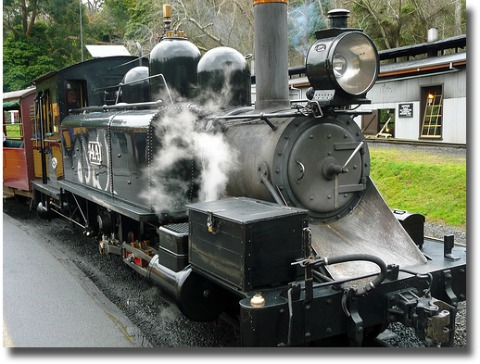 black and shiny puffing billy steam engine compliments of http://www.flickr.com/photos/williamsdb/3927666939/