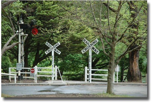 Puffing Billy railway crossing and tracks Emerald Lake Park Melbourne Australia compliments of http://www.flickr.com/photos/gemsling/278765686/