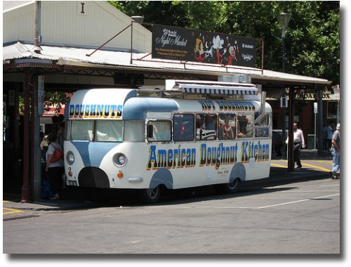American Doughnut King Food Van outside the Queen Victoria Market Melbourne Australia compliments of http://www.flickr.com/photos/heyskinny/6372115173/