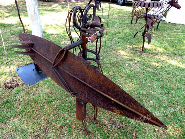 Iron Sculptured surfer sold at the Queenscliff Market