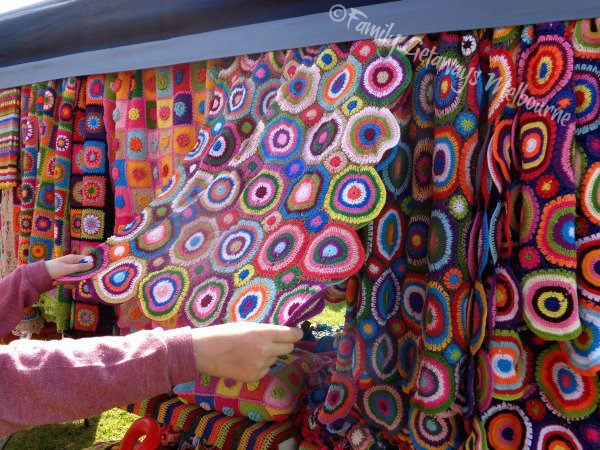 Handmade crocheted rugs and other products sold at the Queensclif Community Market