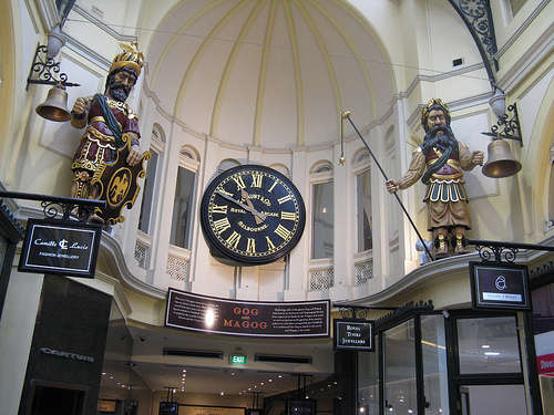 Gog and Magog in the Royal Archade Melbourne Australia compliments of http://www.flickr.com/photos/trainman/3647872419/