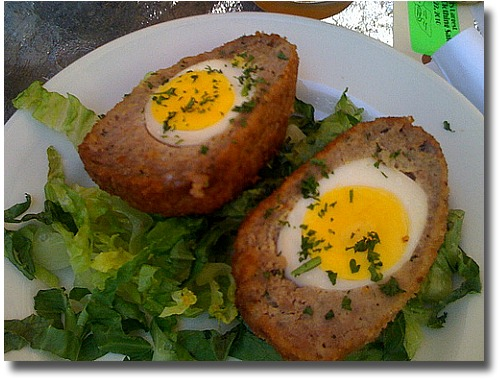 Scotch Eggs compliments of http://www.flickr.com/photos/unsureshot/4468381952/
