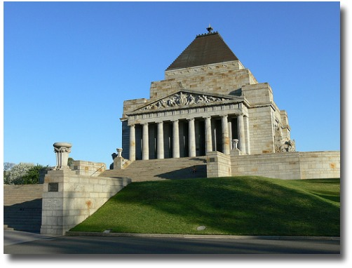 Shrine of Remembrance Melbourne Australia compliments of http://www.flickr.com/photos/nzphoto/511937456/
