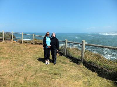 My sister and I at Boiler Bay State Wayside, July 2016