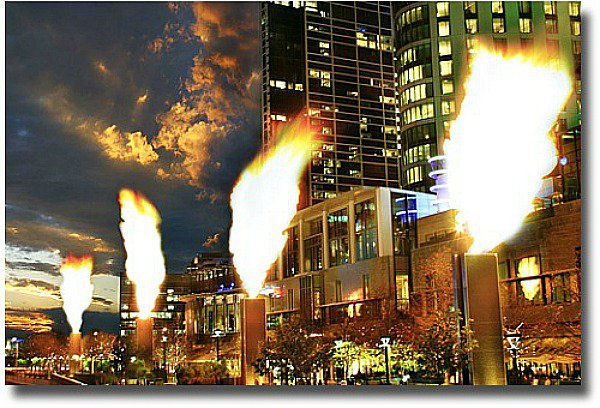 Crown Casino gas flame towers at Southbank compliments of http://www.flickr.com/photos/kithaselden/184464044/