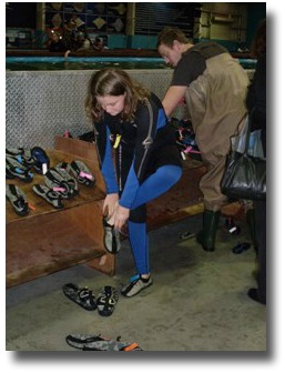 Wetsuits and waders available at the Australian Shark and Stingray Centre