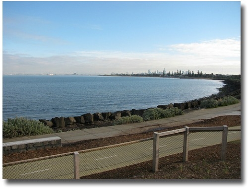 Walk or ride beside the bayside beaches of Port Phillip Bay compliments of http://www.flickr.com/photos/24983601@N00/4699363118/
