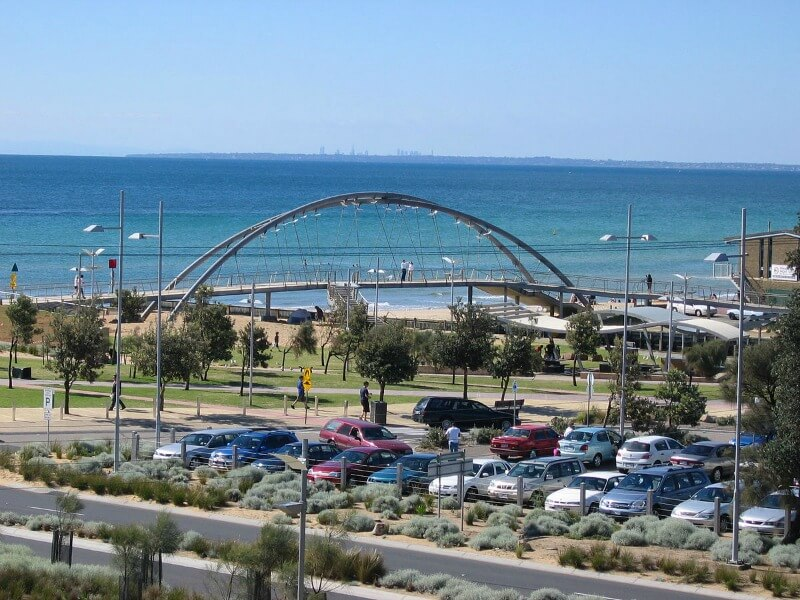 Footbridge over the Kananook creek at Frankston Port Phillip bay Melbourne Australia