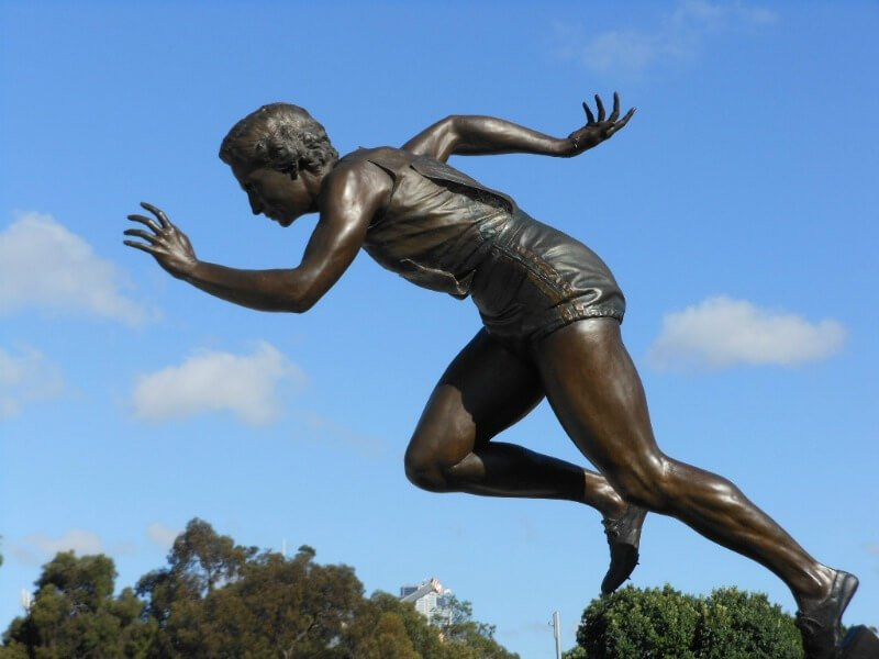 Statue of Betty Cuthbert outside the Melbourne Cricket Ground compliments of http://www.flickr.com/photos/mikecogh/6505012533/in/set-72157622722082415/