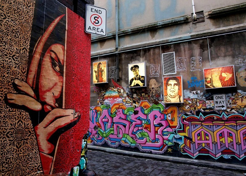 Street Art in Hosier Lane compliments of TigTab from Melbourne, Australia (Shepard Fairey in Hosier) [CC BY-SA 2.0 (https://creativecommons.org/licenses/by-sa/2.0)], via Wikimedia Commons