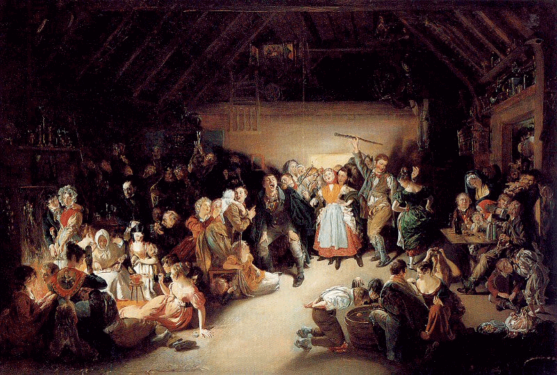 Snap-Apple Night (1833), painted by Daniel Maclise, shows people playing divination games on 31 October in Ireland