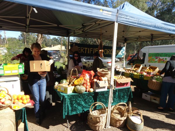 Certified Organic produce for sale at the St Andrews market north east of Melbourne, Australia