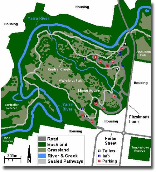 Map of Westerfolds Park in Melbourne Australia