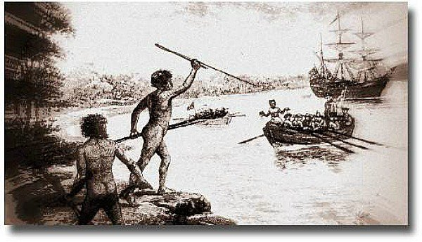 Drawing of Aborigines trying to defend their land from European invasion