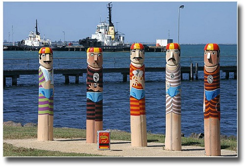 Bollards on the foreshore at Geelong Victoria Australia