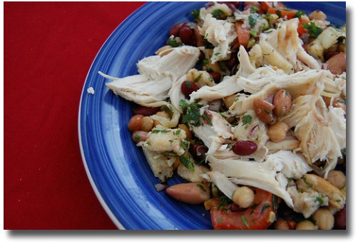 Chicken and bean salad compliments of http://www.flickr.com/photos/maryamandathompson/5134851865/