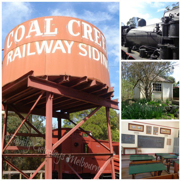 Coal Creek Railway Siding, steam train and various heritage buildings