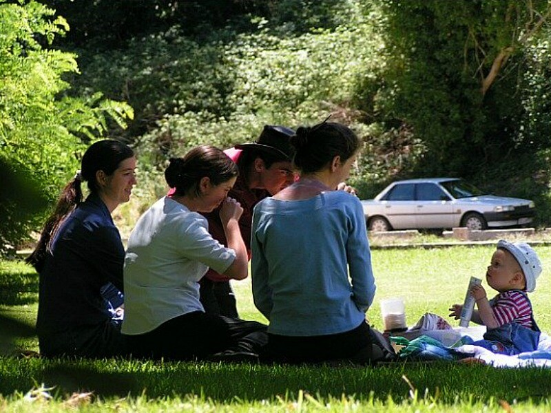 family in park with baby