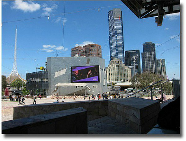 The Big Screen in Federation Square compliments of http://www.flickr.com/photos/13233236@N04/4048378648