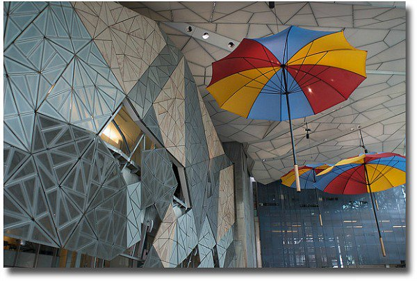 an example of architecture found at Federation Square in Melbourne, Australia compliments of http://www.flickr.com/photos/37996608105