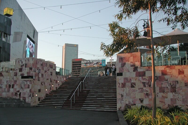 Steps from Federation Square leading to Birrarung Marr