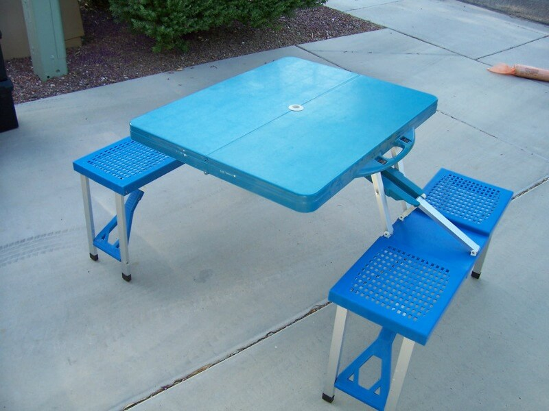 Folding picnic table and chairs compliments of https://flic.kr/p/8sun4K