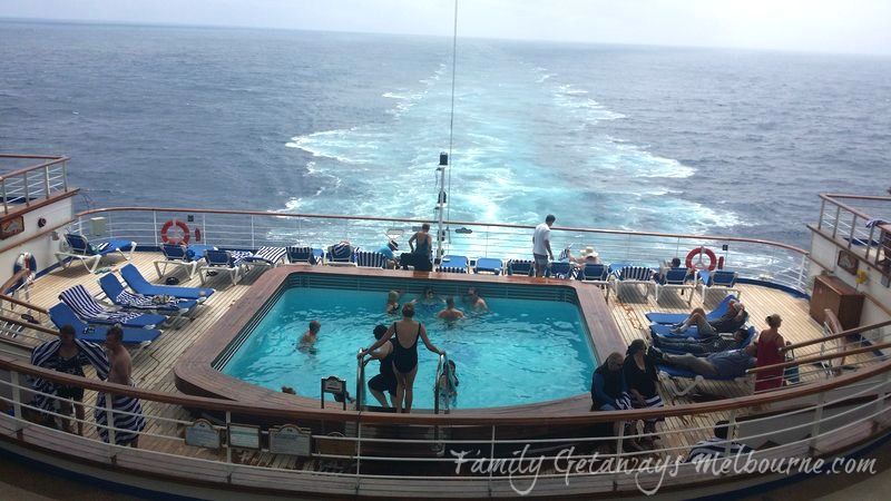 The Terrace Pool at the rear of the Golden princess Cruise Ship
