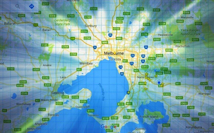 Google road map for Melbourne in Victoria, Australia