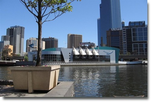 Melbourne Aquarium on the banks of the Yarra River compliments of http://www.flickr.com/photos/bertiemabootoo/309271895/