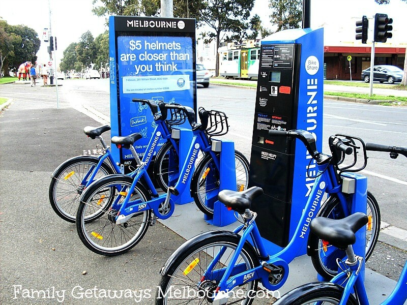 Hire one of the blue mountain bikes to explore the streets of the Melbourne