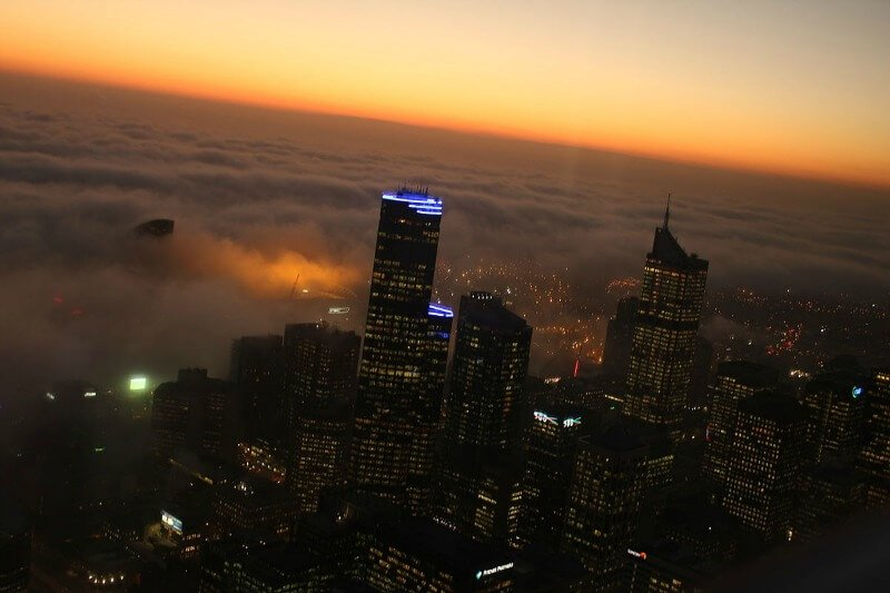 Fog in Melbourne compliments of David Dusink from Australia (Amazing Fog) [CC BY-SA 2.0 (http://creativecommons.org/licenses/by-sa/2.0)], via Wikimedia Commons