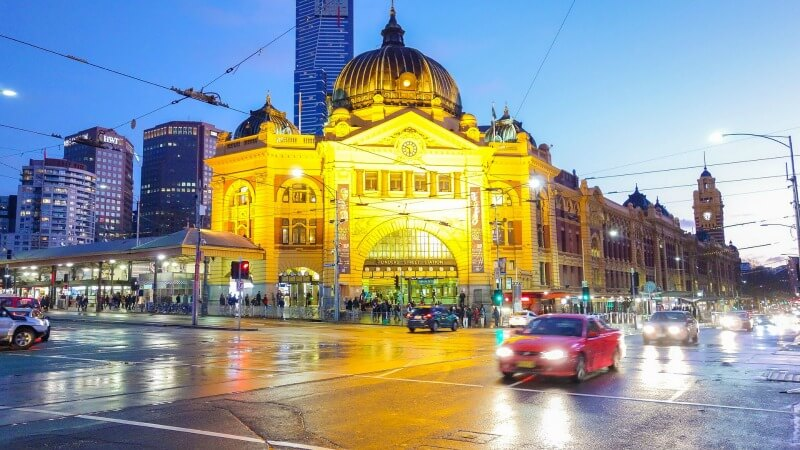 Wet and wintry at Flinders Street in Melbourne