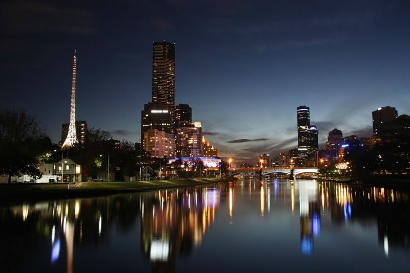 Melbourne at night along Yarra River