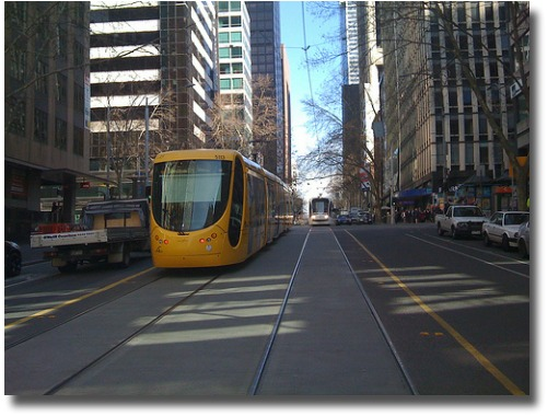 Melbourne Australia modern trams compliments of http://www.flickr.com/photos/gaffney/2738027376/ .