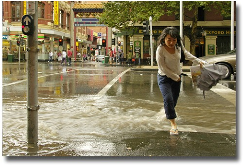Flash flooding in Chinatown Melbourne, Australia compliments of http://www.flickr.com/photos/hangdog/104122031/