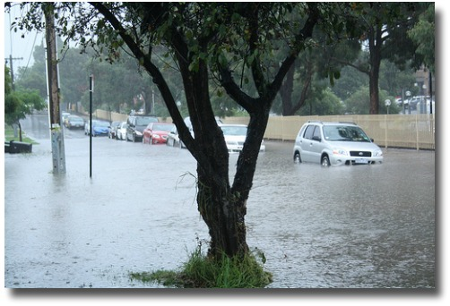 Flash flooding in Melbourne streets compliments of http://www.flickr.com/photos/renecunningham/5415566902/