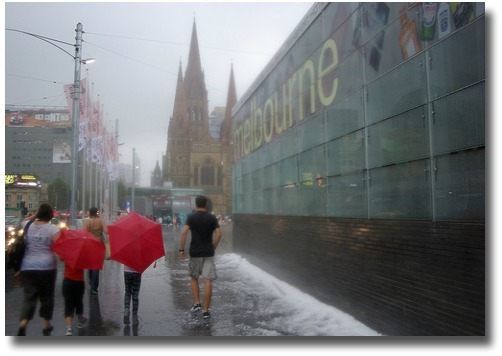 Federation Square, Storm hits Melbourne - Hail, compliments of http://www.flickr.com/photos/35314767@N00/4409724707/
