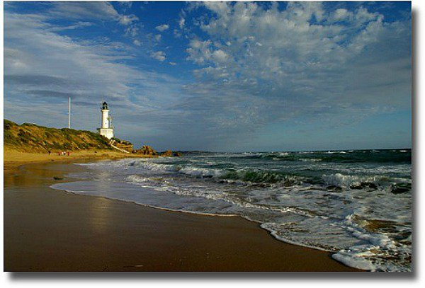 Point Lonsdale back beach and lighthouse compliments of http://www.flickr.com/photos/45072502@N02/5311981116/