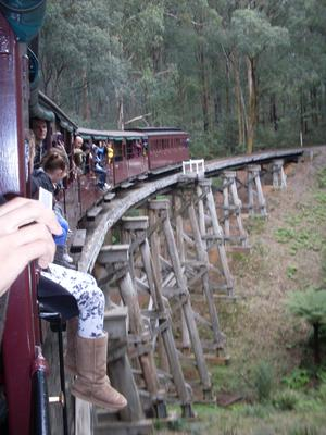 Crossing the bridge along the Puffing Billy railway Melbourne line