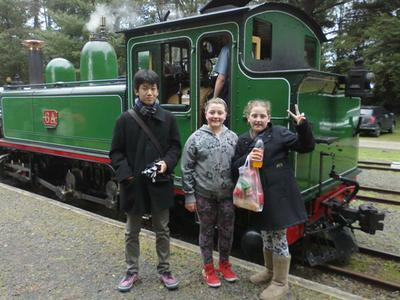Puffing Billy carriage, hot dogs and 3 excited kids