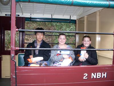 Hot dogs, The Puffing Billy Carriage and 3 excited kids