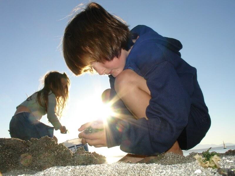 finding treasures by seaside