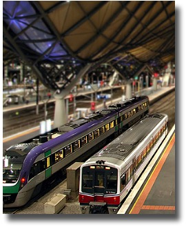 trains at the Southern Cross Station in Melbourne, Australia