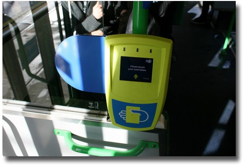 Touch on touch off Myki ticketing machine on a Melbourne tram Melbourne Australia compliments of http://www.flickr.com/photos/beaugiles/5085966770/