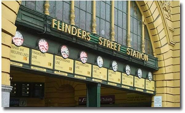 Under the clocks at Flinders Stret Station compliments of http://www.flickr.com/photos/bonitoclub/7182790049/