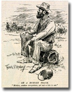 Old bush swagman resting on his swag
